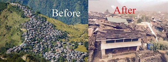 Before and After - Barpak Village